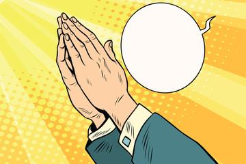 Men hands in prayer