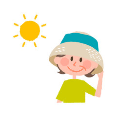 vector illustration of an elder  woman wearing a hat