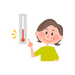 vector illustration of an elder  woman checking the temperature
