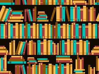 Seamless pattern with books, library bookshelf. Vector illustration