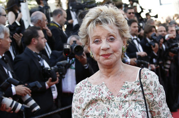 """Actress and singer Annie Cordy poses on the red carpet as she arrives for screening of the film """"Mia madre"""" in competition at the 68th Cannes Film Festival in Cannes"""