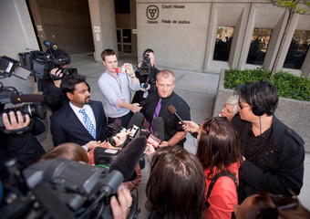 Rodney Stafford, father of slain a eight-year-old Woodstock girl, speaks to the media at the courthouse in London, Ontario