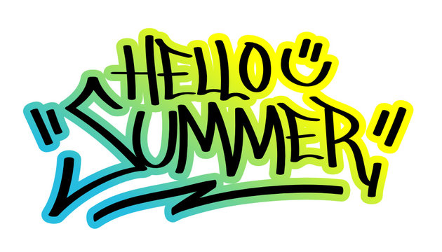 HELLO SUMMER Vector Graffiti Tag with Summer Colours Outline