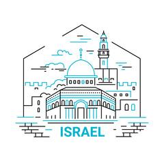 Israel - modern vector line travel illustration