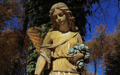 Majestic view of statue of golden angel illuminated by sunlight against a background of dark foliage. Dramatic unusual scene. Retro filter and vintage style.
