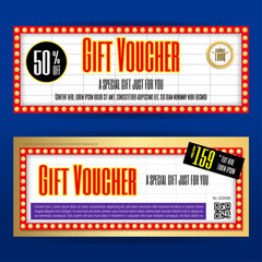 Movie ticket sign theme gift voucher or gift coupon template for promo marketing