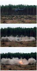 """A combination picture shows the hard touchdown of a Mi-28N helicopter during the """"Aviadarts"""" military aviation competition near Ryazan"""
