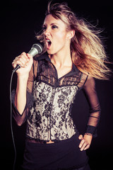 Blond Woman Singing