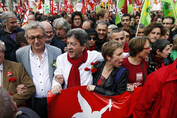 "PCF National Secretary Laurent, leader of the French far-left Parti de Gauche Melenchon and Paris Deputy Mayor Autain participate in a march calling for a ""sixth republic"" to be established with a new constitution in Paris"