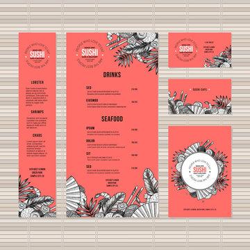 Sushi menu template. Asian food restaurant identity. Engraved style illustration. Vector illustration