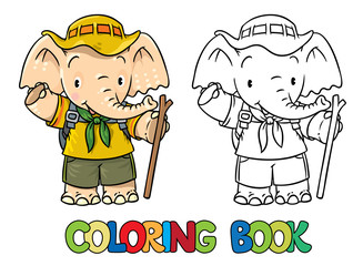 Scout. Little baby elephant. Coloring book.