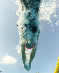 Efimova of Russia is seen from underwater as she swims in the women's 100m breaststroke semifinals at the European Swimming Championships in Budapest