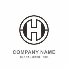 Monogram Letter H Geometric Circle Space Interior Architecture Construction Business Company Stock Vector Logo Design Template