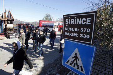 People walk on the streets of Sirince