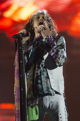 """Vocalist Tyler of Aerosmith performs during the """"Aerosmith: Let Rock Rule"""" tour at The Forum in Inglewood"""
