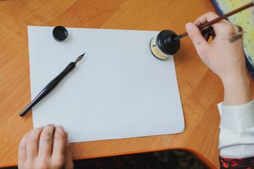 hand writing chinese calligraphy