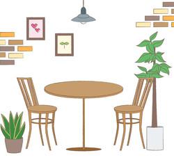 素朴でかわいいカフェのイラスト