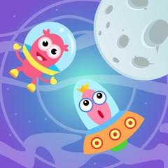 Funny bright cartoon aliens.