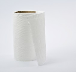Tissue paper rolls out, then the white backdrop.