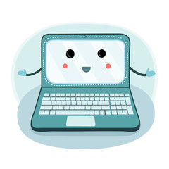 Vector cartoon image of laptop , with arms  standing, smiling with a letter in his hand on a white background.