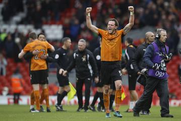 Wolverhampton Wanderers' Richard Stearman celebrates after the game