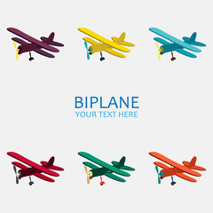 Vector illustration of biplane in color monochrome