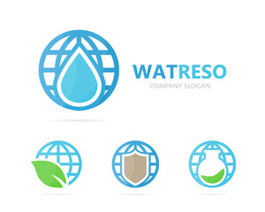 Vector of oil and planet logo combination. Drop and world symbol or icon. Unique water, aqua and globe logotype design template.