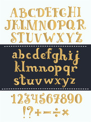 Set of handwritten gold latin letters. Vector script font. Golden alphabet isolated on background.
