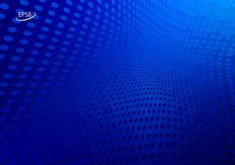 Abstract Hi Tech Blue Background with Converging Halftone Dots. Modern Vector Illustration without Transparency.