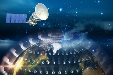 Composite image of 3d image of blue solar satellite