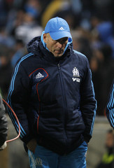 Olympique Marseille's coach Elie Baup reacts after their French Ligue 1 soccer match against FC Lorient at the Velodrome Stadium in Marseille
