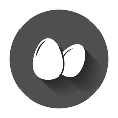 Egg Icon. Flat vector illustration with long shadow.