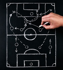 Strategy of football or soccer play tactics, drawn by chalk on the chalk board with a football coach during the time out
