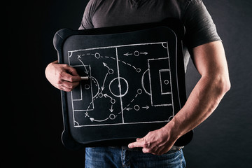 Hand of a football or soccer play coach drawing a tactics of football game with white chalk on blackboard at changing room during the time out