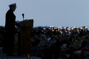 USS Peleliu captain Paul Spedero speaks to sailors and dignitaries during decommissioning ceremony at Naval Base San Diego for amphibious assault ship USS Peleliu in San Diego