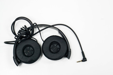 isolated headset for listen to music on table