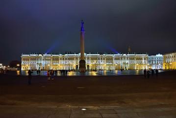 Palace square illuminated by night. Saint Petersburg