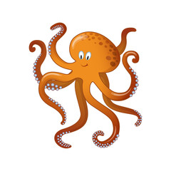 Octopus sea animal cartoon illustration for children