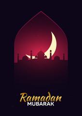 Ramadan Kareem. Ramadan Mubarak. Greeting card. Arabian night with Crescent moon.