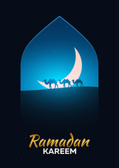 Ramadan Kareem. Ramadan Mubarak. Greeting card. Arabian night with Crescent moon and camels.
