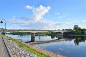 Bridge 50-letiya Oktyabrya over the Velikaya river