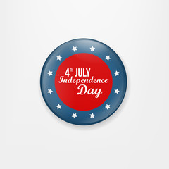 Stylish american independence day design. Badge and label isolated on white background for Independence Day. Happy Independence Day greeting card. Independence Day design. Vector illustration.