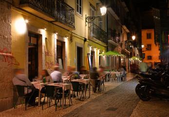 Night the streets of Lisbon