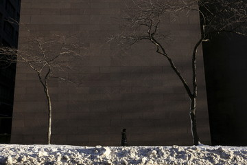 A woman walks along 42nd Street past a snow bank in the Manhattan borough of New York