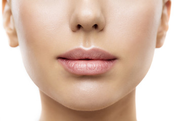 Lips, Woman Face Mouth Beauty, Beautiful Skin and Full Lip Closeup, Pink Lipstick