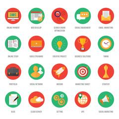 seo. search engine optimization. icons set vector illustration. online business design concept.
