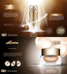 Digital vector golden glass bottle spray essence and creammockup on brown background, with your brand, ready for print ads or magazine design. Transparent and shine, realistic 3d style
