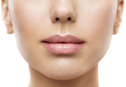 Lips, Woman Face Mouth Beauty, Beautiful Skin and Full Lip Closeup, Pink Lipstick