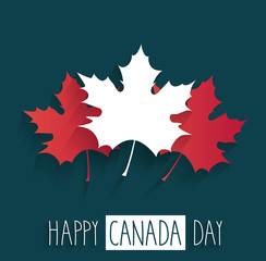 Happy Canada Day poster on blue background with handwritten text. Vector illustration.
