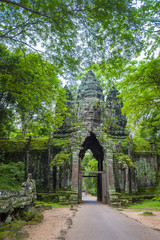 Scenic jungle view of the Angkor Thom North Gate at the Angkor Temple complex near Siem Reap, Cambodia